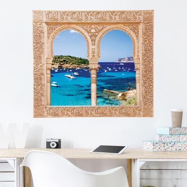 3D Wandtattoo - Verziertes Fenster Dragon Island