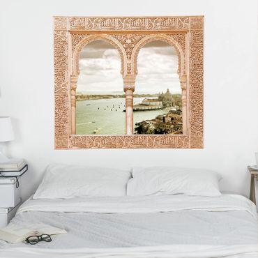 3D Wandtattoo - Verziertes Fenster Lagune von Venedig