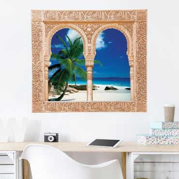 3D Wandtattoo - Verziertes Fenster Traumstrand