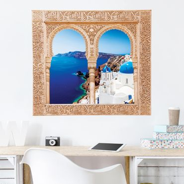3D Wandtattoo - Verziertes Fenster View Over Santorini