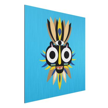 Aluminium Print gebürstet - Collage Ethno Maske - Große Augen - Quadrat 1:1