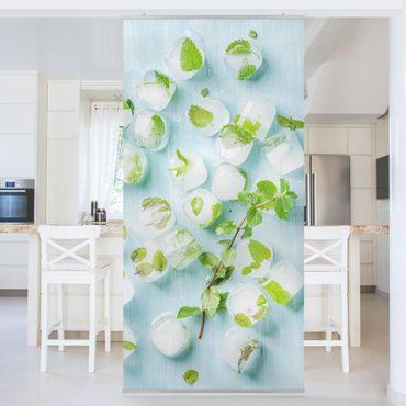 Raumteiler - Eiswürfel mit Minzblättern 250x120cm