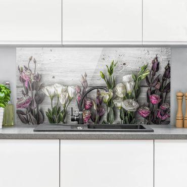 Spritzschutz Glas - Tulpen-Rose Shabby Holzoptik - Querformat - 2:1