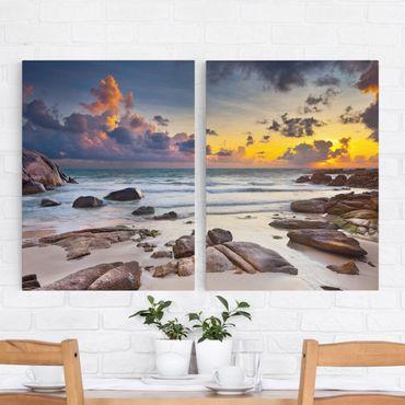 Leinwandbild 2-teilig - Strand Sonnenaufgang in Thailand - Hoch 3:4