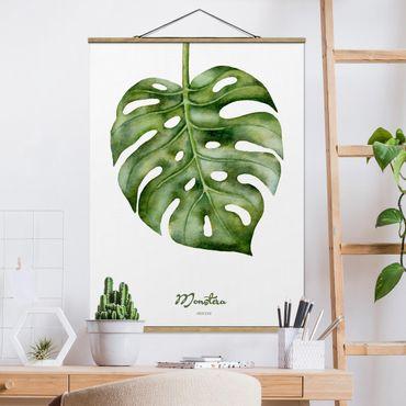 Stoffbild mit Posterleisten - Aquarell Botanik Monstera - Hochformat 4:3