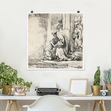 Poster - Rembrandt van Rijn - Die Rückkehr des Sohnes - Quadrat 1:1