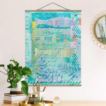 Stoffbild mit Posterleisten - Bunte Collage - Fische und Punkte - Hochformat 4:3