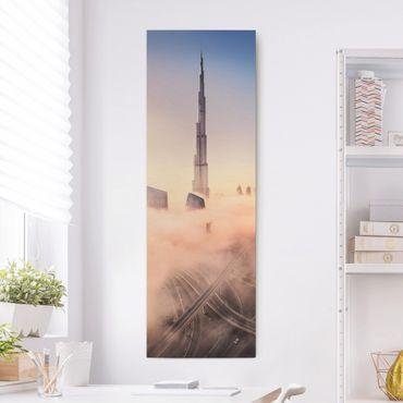 Leinwandbild - Himmlische Skyline von Dubai - Panorama Hochformat 3:1