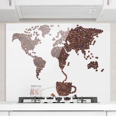 Glas Spritzschutz - Kaffee um die Welt - Querformat - 4:3