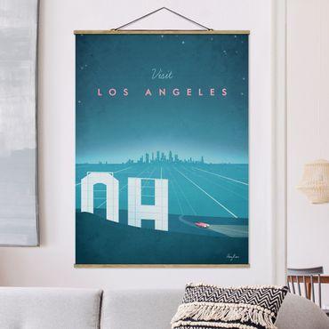 Stoffbild mit Posterleisten - Reiseposter - Los Angeles - Hochformat 4:3