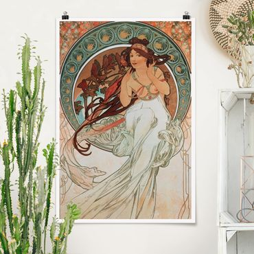 Poster - Alfons Mucha - Vier Künste - Die Musik - Hochformat 3:2
