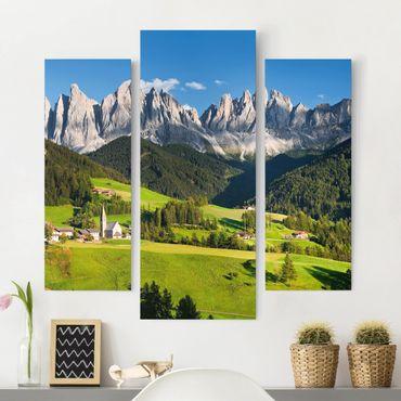 Leinwandbild 3-teilig - Geislerspitzen in Südtirol - Galerie Triptychon