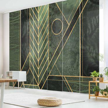 Schiebegardinen Set - Elisabeth Fredriksson - Geometrische Formen Smaragd Gold - 6 Flächenvorhänge