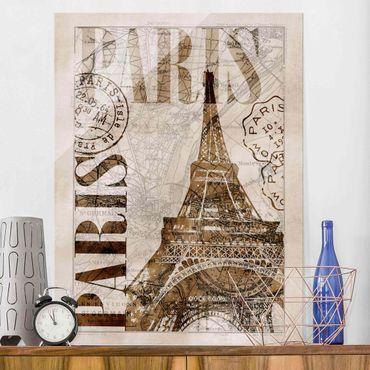 Glasbild - Shabby Chic Collage - Paris - Hochformat 4:3