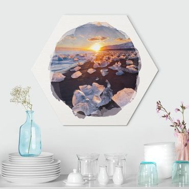 Hexagon Bild Alu-Dibond - Wasserfarben - Eisbrocken am Strand Island