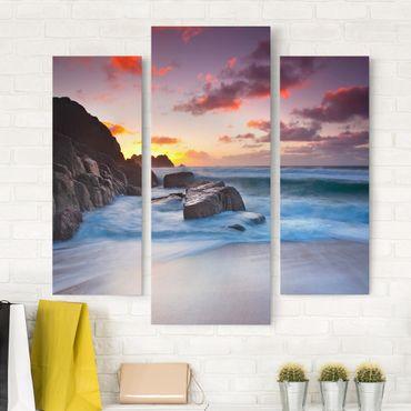 Leinwandbild 3-teilig - Am Meer in Cornwall - Galerie Triptychon