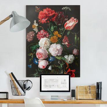 Leinwandbild - Jan Davidsz de Heem - Stillleben mit Blumen in einer Glasvase - Hochformat 4:3