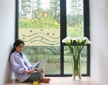 Fensterfolie - Sichtschutzfolie No.UL952 Wellen und Kreise 1 - Milchglasfolie