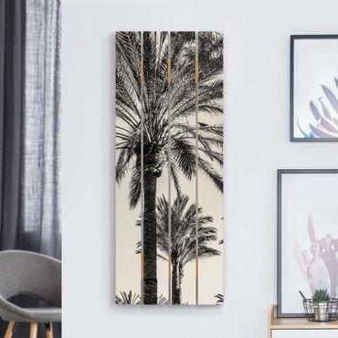 Holzbild - Palmen im Sonnenuntergang Schwarz-Weiß - Hochformat 5:2