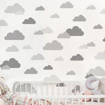 Wandtattoo mehrfarbig - 40 Wolken Grau Set