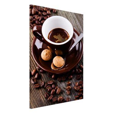 Magnettafel - Kaffeetasse mit Kaffeebohnen - Memoboard Hochformat 3:2