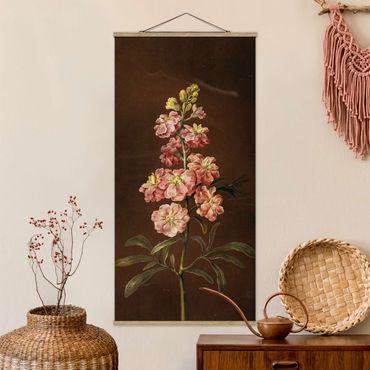 Stoffbild mit Posterleisten - Barbara Regina Dietzsch - Eine rosa Garten-Levkkoje - Hochformat 2:1
