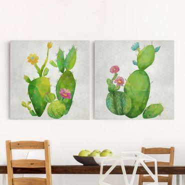 Leinwandbild 2-teilig - Kaktusfamilie Set I - Quadrate 1:1