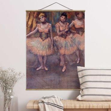 Stoffbild mit Posterleisten - Edgar Degas - Tänzerinnen vor Exercice - Hochformat 4:3