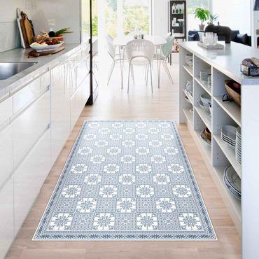Vinyl-Teppich - Florales Fliesenmuster Blaugrau mit Bordüre - Hochformat 2:3