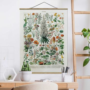 Stoffbild mit Posterleisten - Vintage Lehrtafel Blumen I - Hochformat 4:3