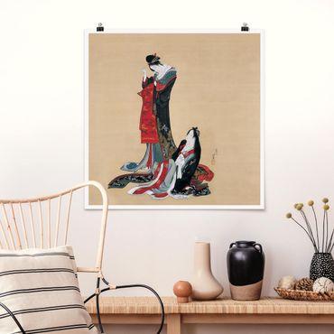 Poster - Katsushika Hokusai - Zwei Kurtisanen - Quadrat 1:1