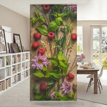 Raumteiler - Blumen Himbeeren Minze 250x120cm