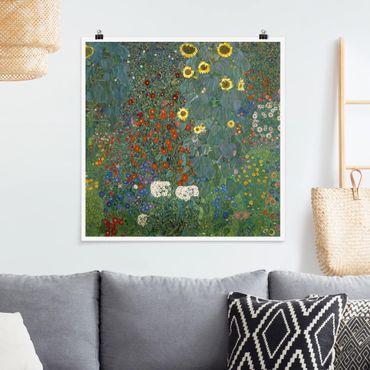 Poster - Gustav Klimt - Garten Sonnenblumen - Quadrat 1:1