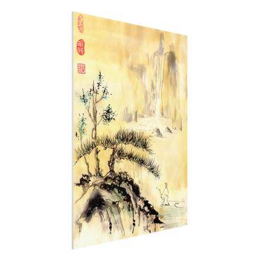 Forex Fine Art Print - Japanische Aquarell Zeichnung Zedern und Berge - Hochformat 4:3
