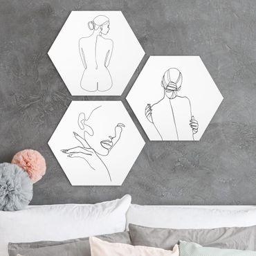 Hexagon Bild Forex 3-teilig - Line Art Frauen Akt Schwarz Weiß Set