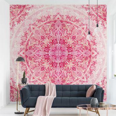 Fototapete - Mandala Aquarell Ornament Muster pink - Fototapete Quadrat