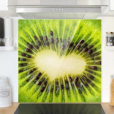 Glas Spritzschutz - Kiwi Heart - Quadrat - 1:1