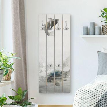Wandgarderobe Holz - Vintage Illustration Asiatische Fische III - Haken chrom Hochformat