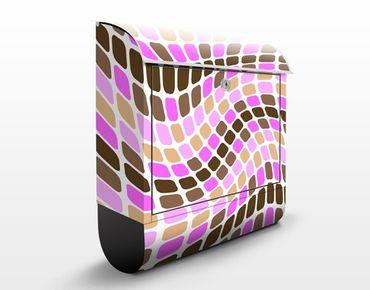 Wandbriefkasten - Dancing Squares - Briefkasten Rosa, Pink