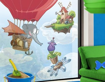 Fensterfolie - Sichtschutz Fenster Fliegender Bauernhof Elefant in den Wolken - Fensterbilder