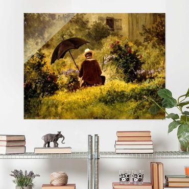 Glasbild - Carl Spitzweg - Der Maler im Garten - Querformat 3:4