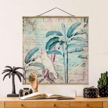 Stoffbild mit Posterleisten - Colonial Style Collage - Kakadus und Palmen - Quadrat 1:1