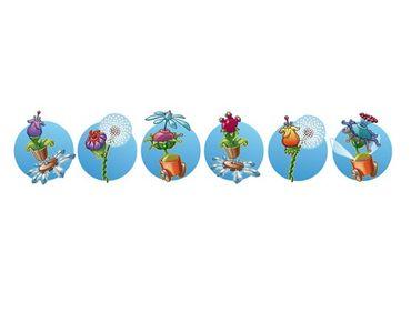 Wandtattoo Bordüre Fliegender Bauernhof Blumenband in Blau