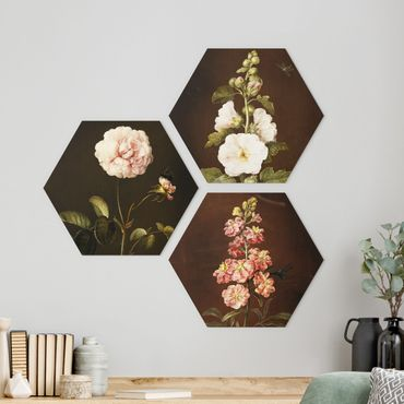 Hexagon Bild Forex 3-teilig - Barbara Regina Dietzsch - Rosen und Levkkoje