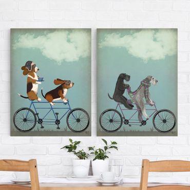Leinwandbild 2-teilig - Radtour - Bassets und Schnauzer Tandem Set II - Hoch 4:3