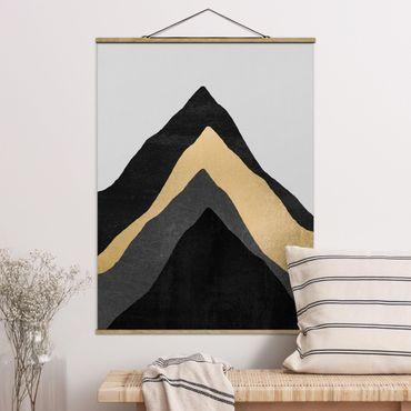 Stoffbild mit Posterleisten - Elisabeth Fredriksson - Goldener Berg Schwarz Weiß - Hochformat 4:3