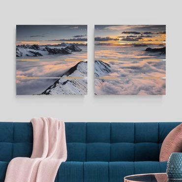 Holzbild 2-teilig - Blick über Wolken und Berge - Quadrate 1:1