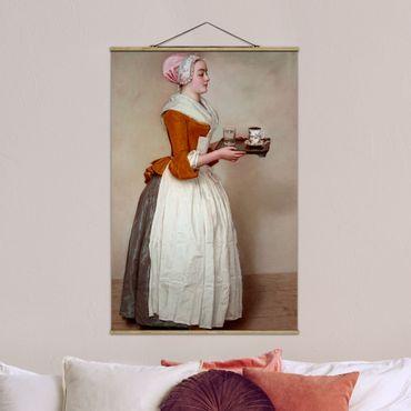 Stoffbild mit Posterleisten - Jean Etienne Liotard - Das Schokoladenmädchen - Hochformat 2:3