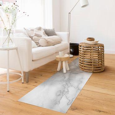 Vinyl-Teppich - Marmoroptik Schwarz Weiß - Panorama Quer