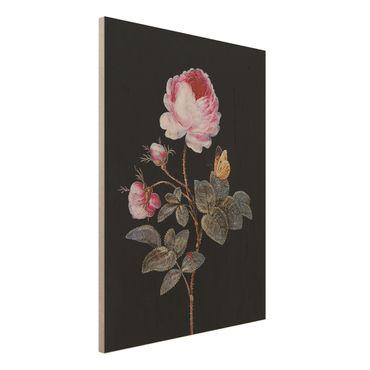 Holzbild - Barbara Regina Dietzsch - Die hundertblättrige Rose - Hochformat 4:3